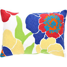 Fresh American Poppy Fuchsia/Blue Indoor/Outdoor Pillow