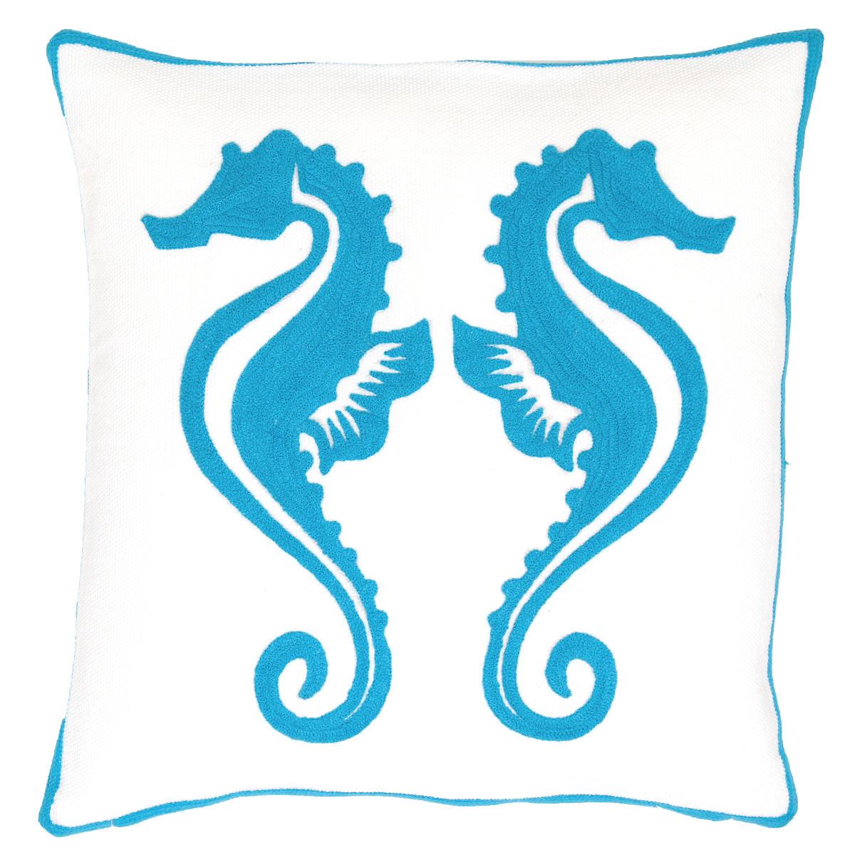 Fresh American Sea Horse Turqouise Indoor/Outdoor Pillow