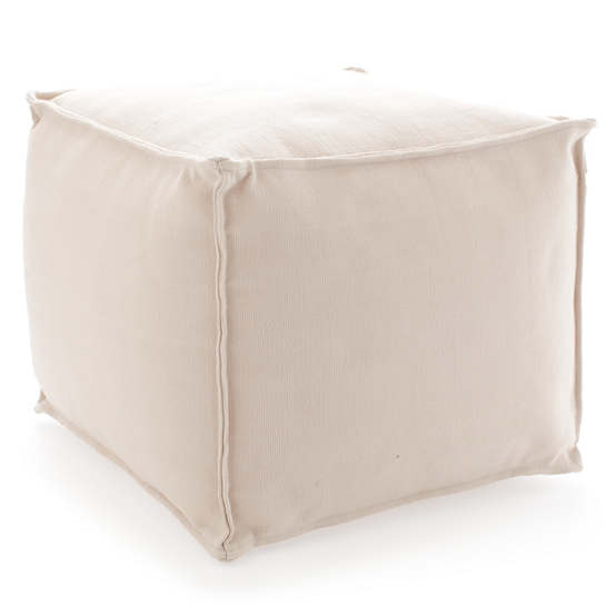 Fresh American Solid Ivory Indoor/Outdoor Pouf