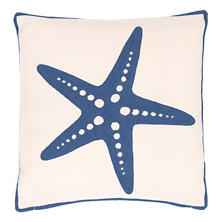 Fresh American Starfish Denim Indoor/Outdoor Pillow