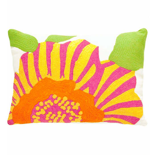 Fresh American Stripe Flower Fuchsia/Daffodil Indoor/Outdoor Pillow