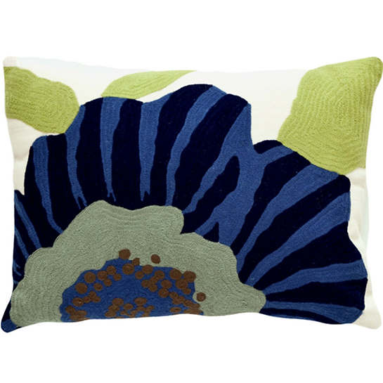 Fresh American Stripe Flower Navy/Light Blue Indoor/Outdoor Pillow