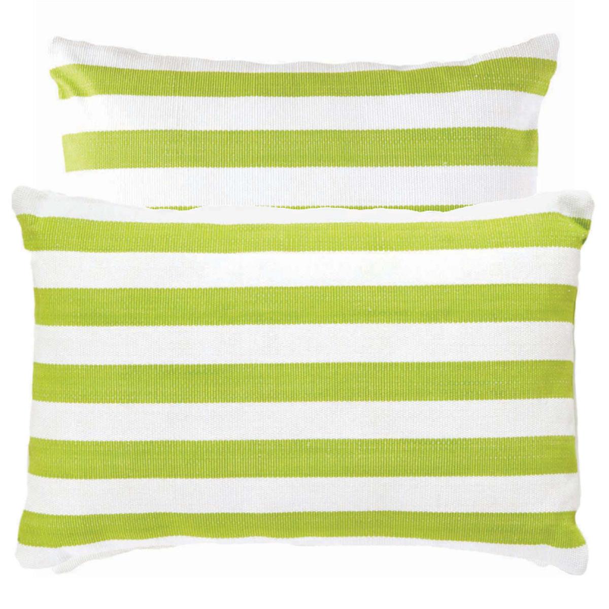 Fresh American Trimaran Stripe Apple/White Indoor/Outdoor Pillow