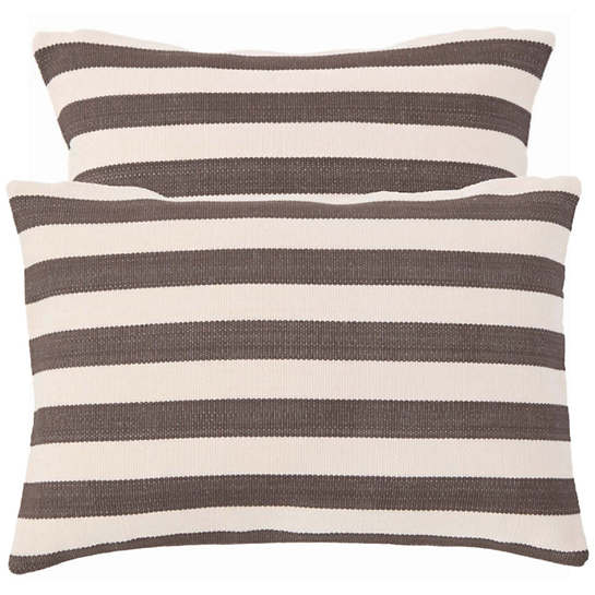 Fresh American Trimaran Stripe Charcoal Indoor/Outdoor Pillow