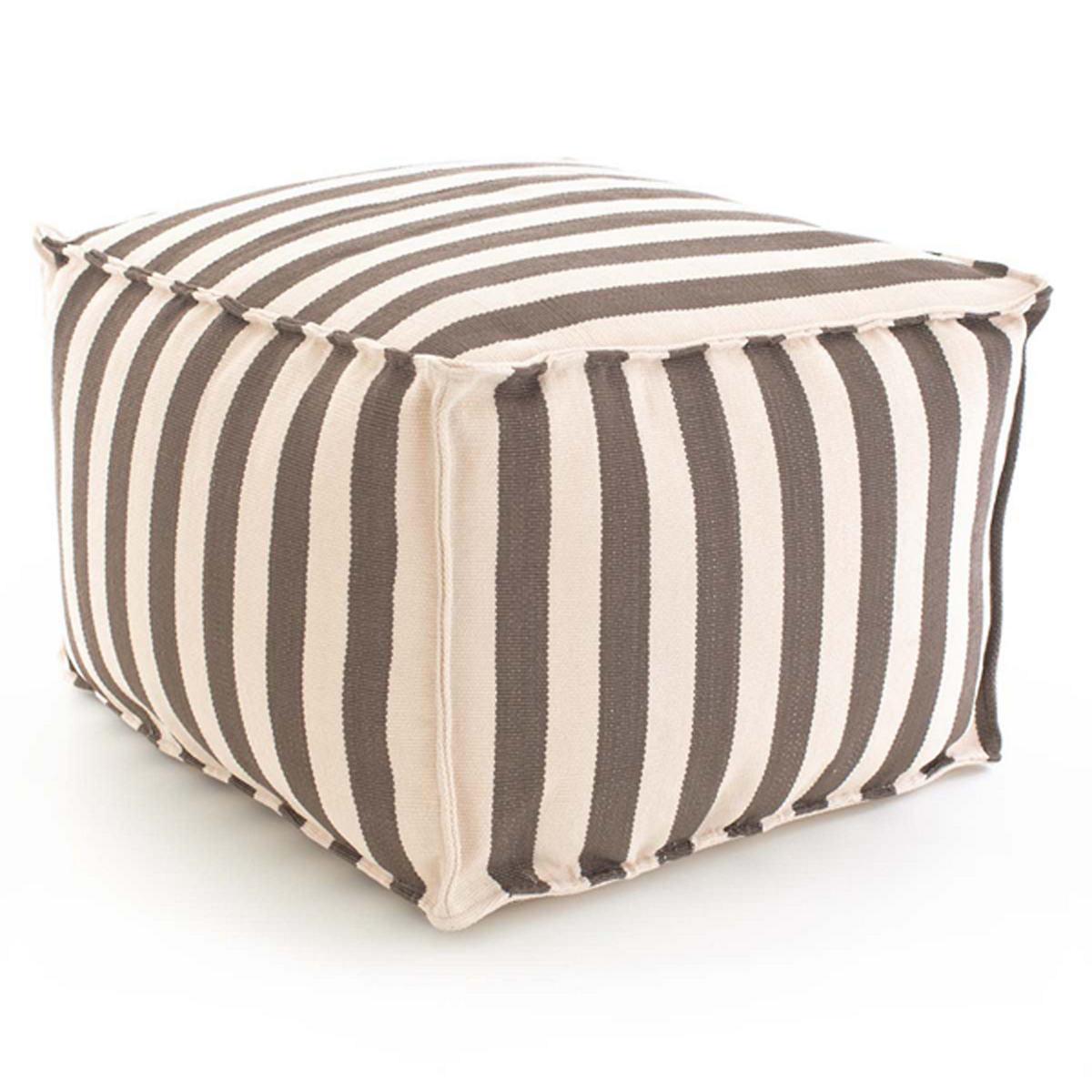 Trimaran Stripe Charcoal/Ivory Pouf