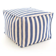 Trimaran Stripe Denim/Ivory Indoor/Oudoor Pouf