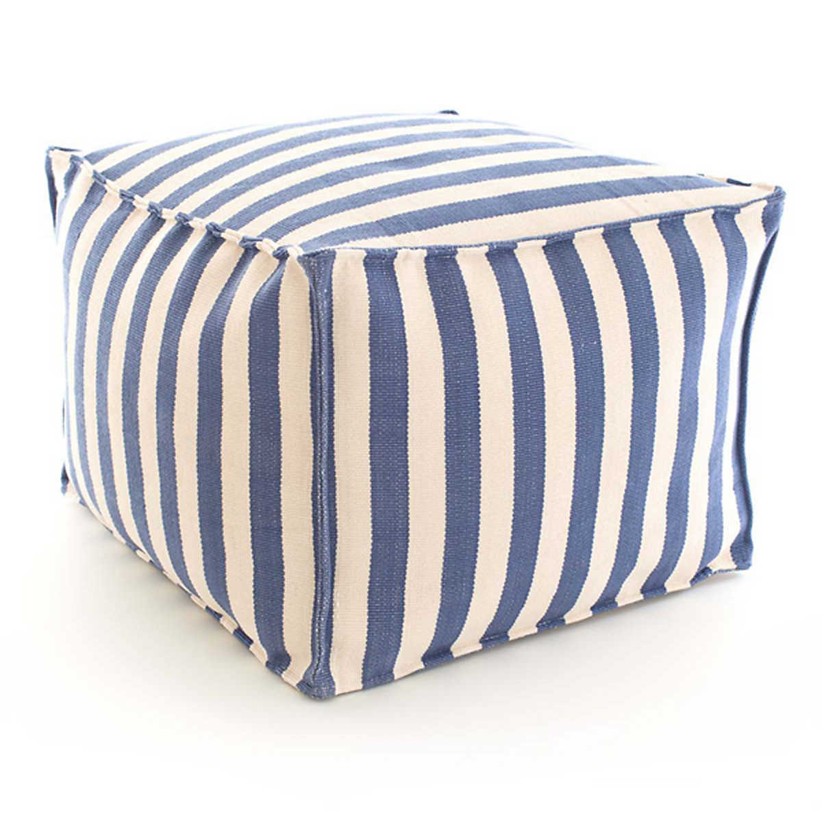 Trimaran Stripe Denim Ivory Indoor Oudoor Pouf Fresh