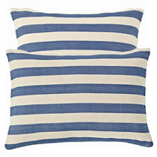Trimaran Stripe Denim/Ivory Indoor/Outdoor Pillow