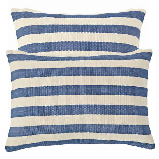 Fresh American Trimaran Stripe Denim/Ivory Indoor/Outdoor Pillow