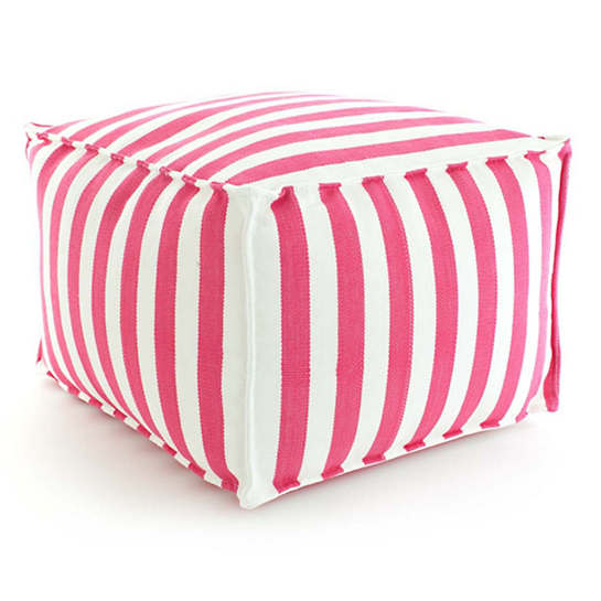 Trimaran Stripe Fuchsia/White Indoor/Outdoor Pouf