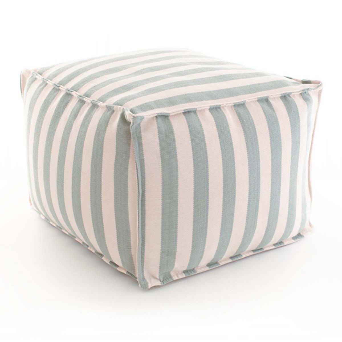 Fresh American Trimaran Stripe Light Blue/Ivory Indoor/Outdoor Pouf