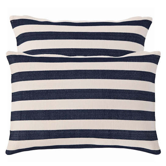 Fresh American Trimaran Stripe Navy/Ivory Indoor/Outdoor Pillow