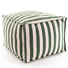 Fresh American Trimaran Stripe Pine/Ivory Indoor/Outdoor Pouf