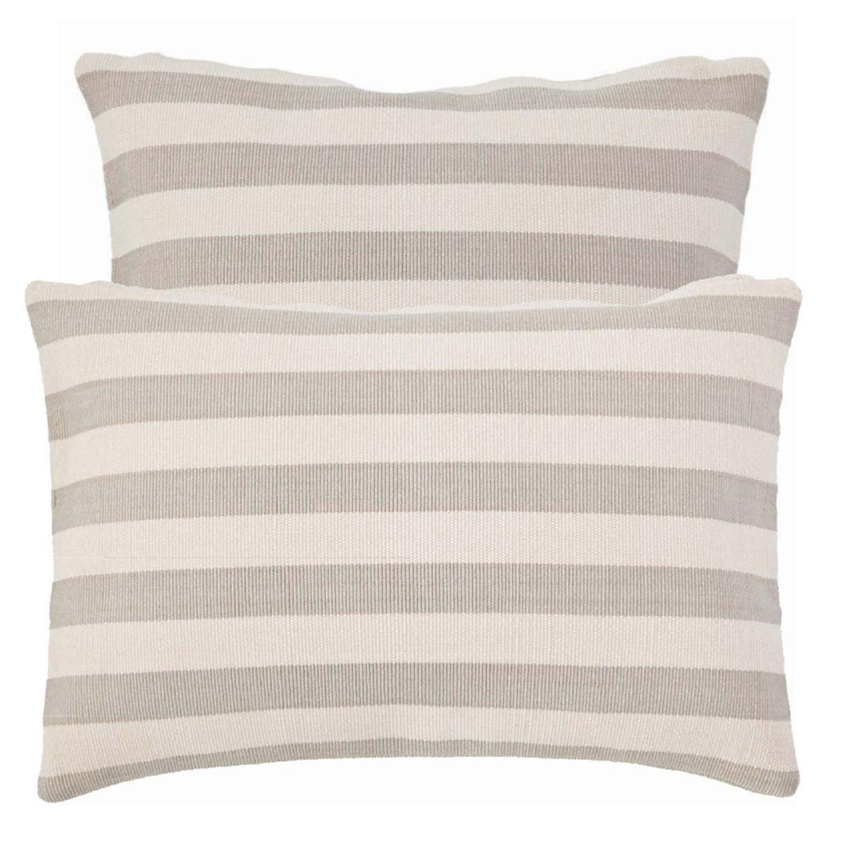Trimaran Stripe Platinum/Ivory Indoor/Outdoor Pillow
