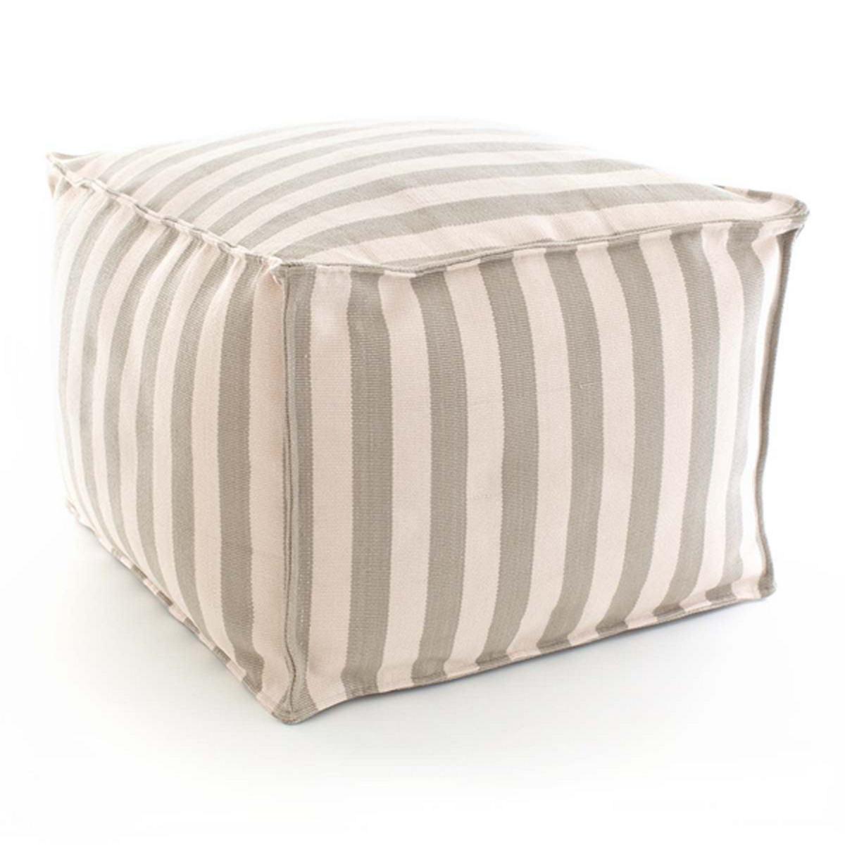 Fresh American Trimaran Stripe Platinum/Ivory Indoor/Outdoor Pouf