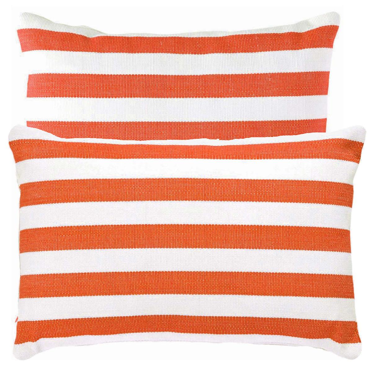 Fresh American Trimaran Stripe Tangerine/White Indoor/Outdoor Pillow