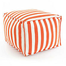 Trimaran Stripe Tangerine/White Indoor/Outdoor Pouf