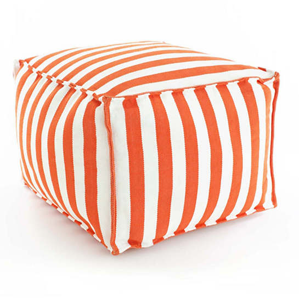 Fresh American Trimaran Stripe Tangerine/White Indoor/Outdoor Pouf