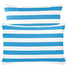 Fresh American Trimaran Stripe Turquoise/White Indoor/Outdoor Pillow