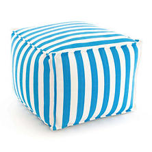 Fresh American Trimaran Stripe Turquoise/White Indoor/Outdoor Pouf