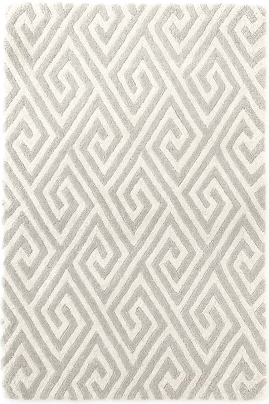 Fretwork Grey Tufted/Carved Wool Rug