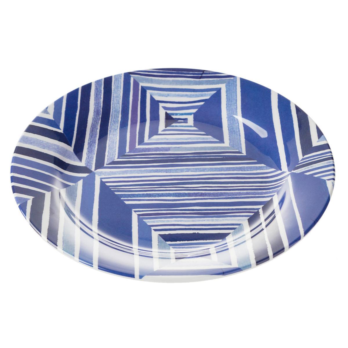 Geo Blue Melamine Dinner Plate/Set Of 4