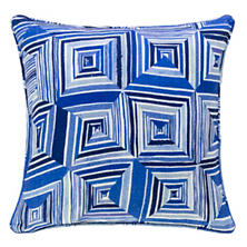 Geo Floral Linen Blue Decorative Pillow