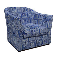 Geo Linen Blue Thunderbird Swivel Chair