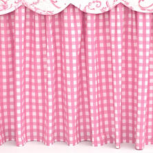 Gingham Pink Bed Skirt