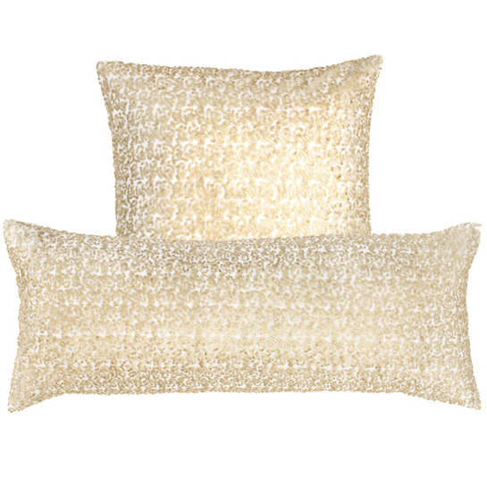 Glaze Sequin Ivory/Sand Decorative Pillow