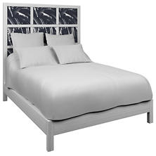 Brushstroke Indigo Grid Block Bed