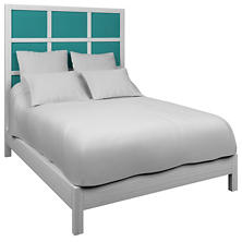 Estate Linen Turquoise Grid Block Bed