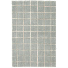 Grid Blue Wool Tufted Rug