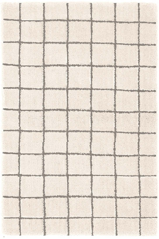 Grid Ivory  Wool Tufted Rug