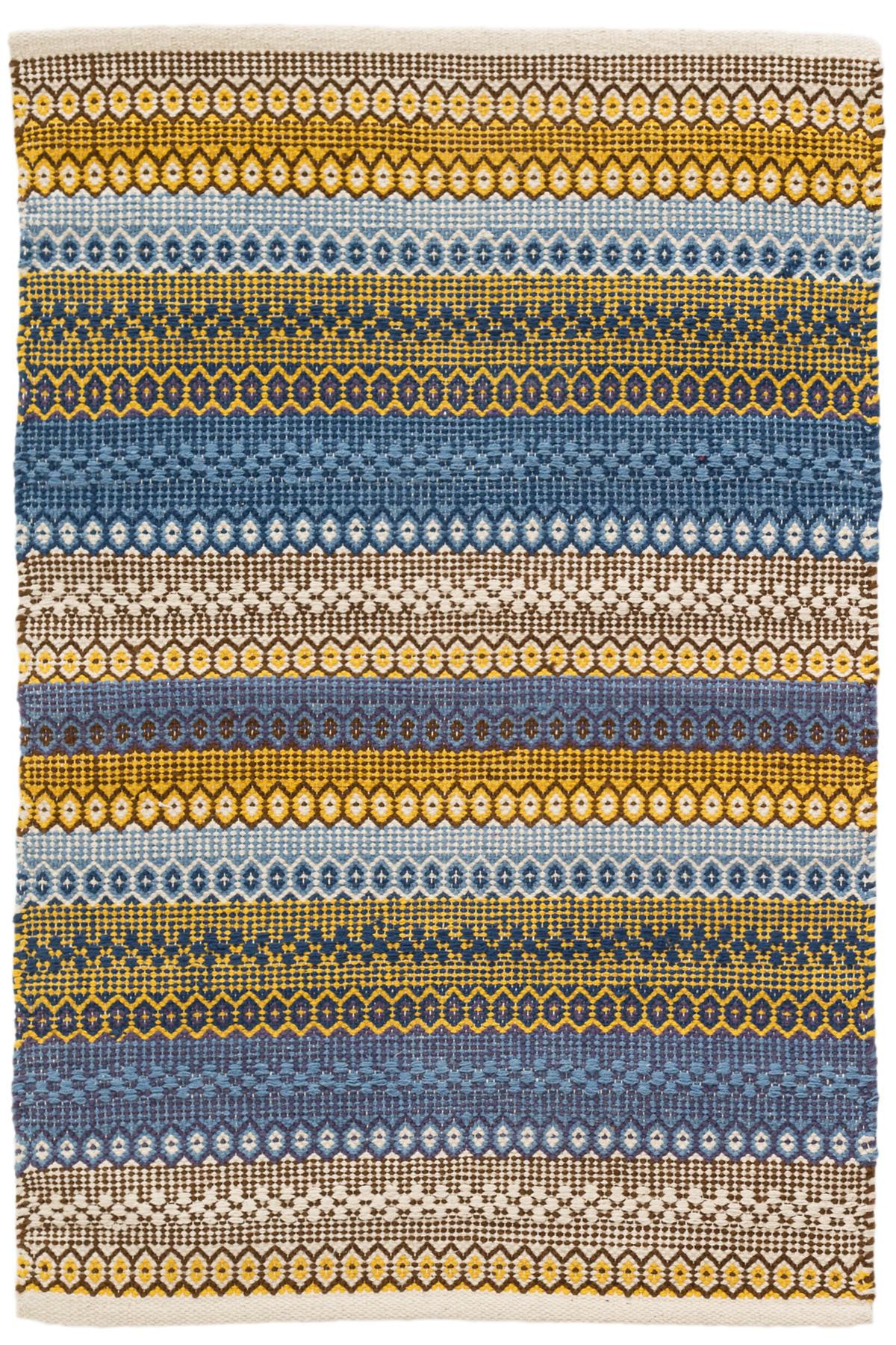 Gypsy Stripe Denim Yellow Woven Cotton Rug Dash Amp Albert