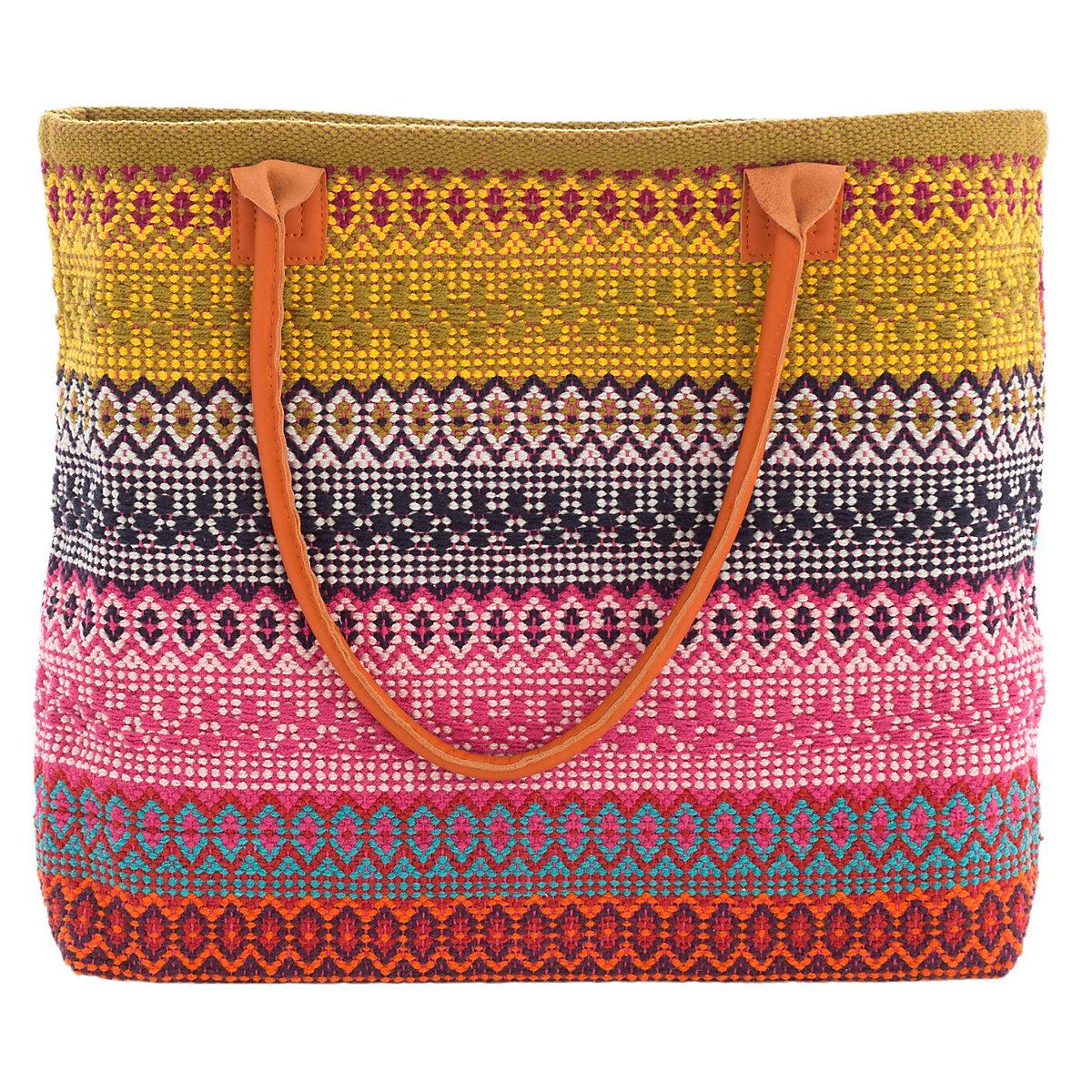 Gypsy Stripe Turquoise Grey Woven Cotton Rug: Gypsy Stripe Multi Woven Cotton Tote Bag