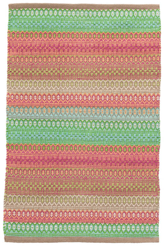 Gypsy Stripe Pink Green Woven Cotton Rug Dash Amp Albert
