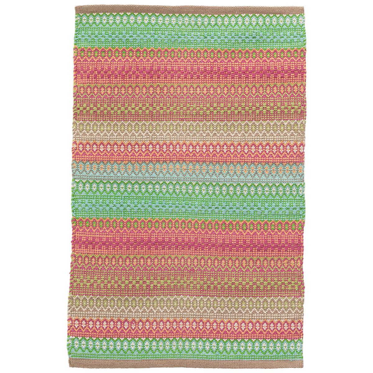 Gypsy Stripe Turquoise Grey Woven Cotton Rug: Gypsy Stripe Pink/Green Woven Cotton Rug
