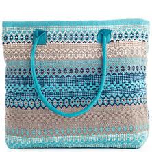 Gypsy Stripe Turquoise/Grey Woven Cotton Tote Bag