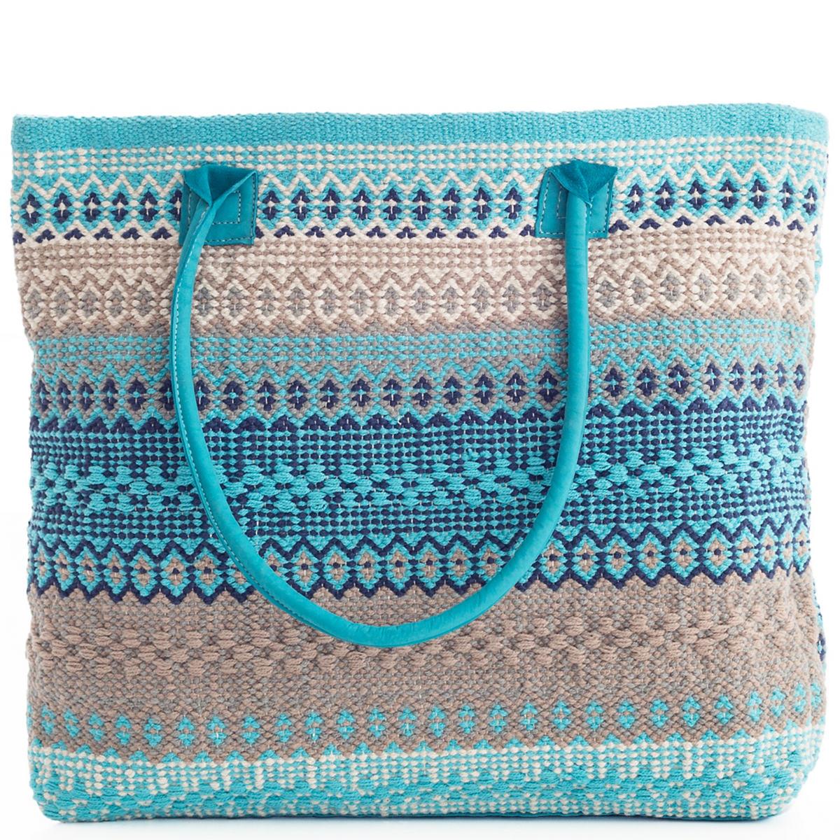 Gypsy Stripe Turquoise Grey Woven Cotton Rug