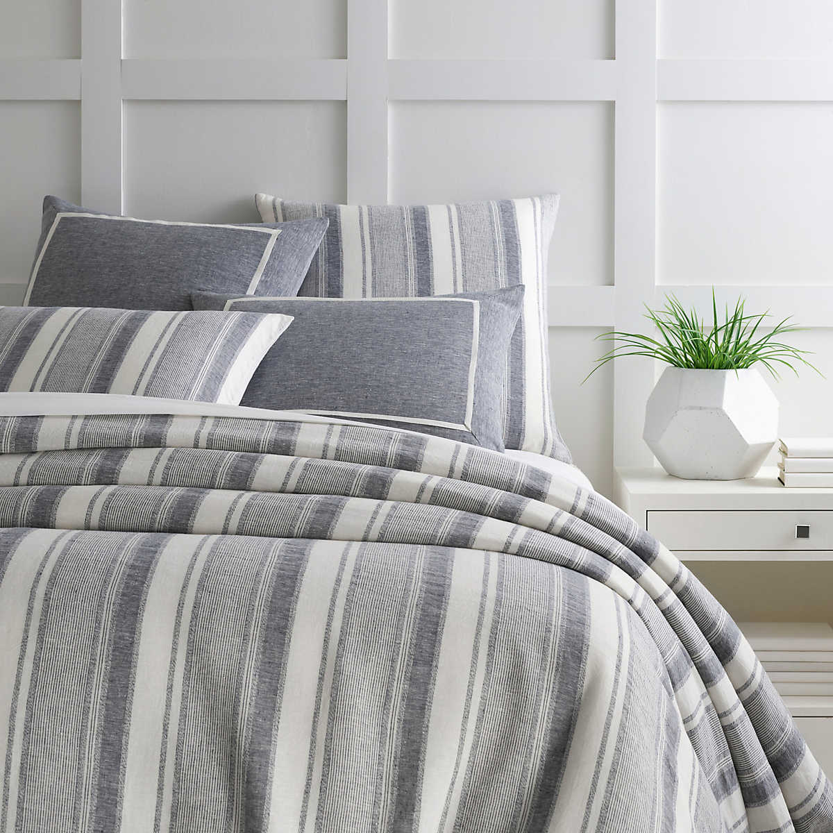 Hampton Ticking Linen Indigo Duvet Cover Pine Cone Hill
