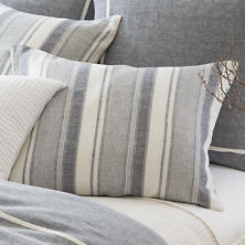 Hampton Ticking Linen Indigo Sham