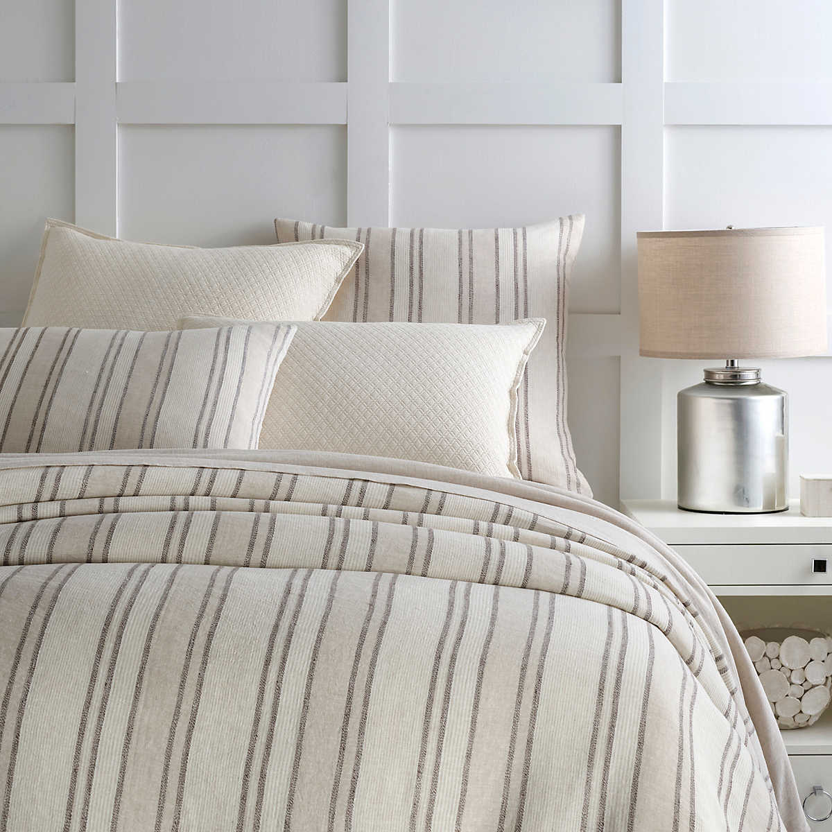 Hampton Ticking Linen Natural Duvet Cover Pine Cone Hill