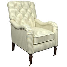 Adams Ticking Light Blue Hancock Chair