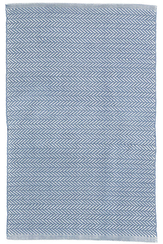 Herringbone Denim/Ivory Indoor/Outdoor Rug
