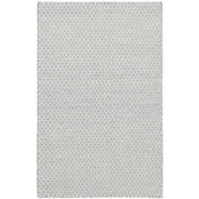 Honeycomb French Blue/Ivory Wool Woven Rug