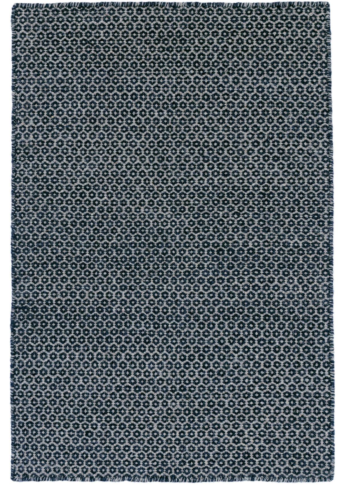 Honeycomb Indigo/Grey Wool Woven Rug