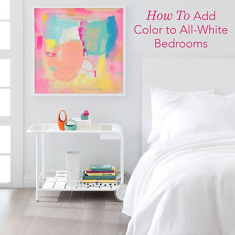All White Bedroom how to add pops of color to an all-white bedroom - fresh american