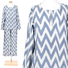 Ikat French Blue Kaftan Pajama