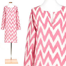 Ikat Raspberry Knee-Length Kaftan